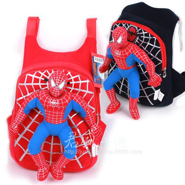 Envío gratis 2014 nuevo de alta calidad linda 3D Spiderman niños bolso de escuela los niños bolsas para la escuela secundaria Mochila Infantil
