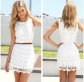 wholesale 2016 summer sleeveless o-neck Slim package hip sweet lace vest dress without belt crochet vestidos S-XL free shipping