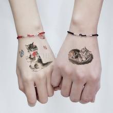 ФОТО temporary tattoo sticker for body art sleeping cat butterfly water transfer flash tattoo fake tatoo for girl kid child tattoos
