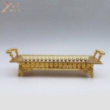 Роскошный металлический поднос с золотым покрытием, пустотелая металлическая пластина
