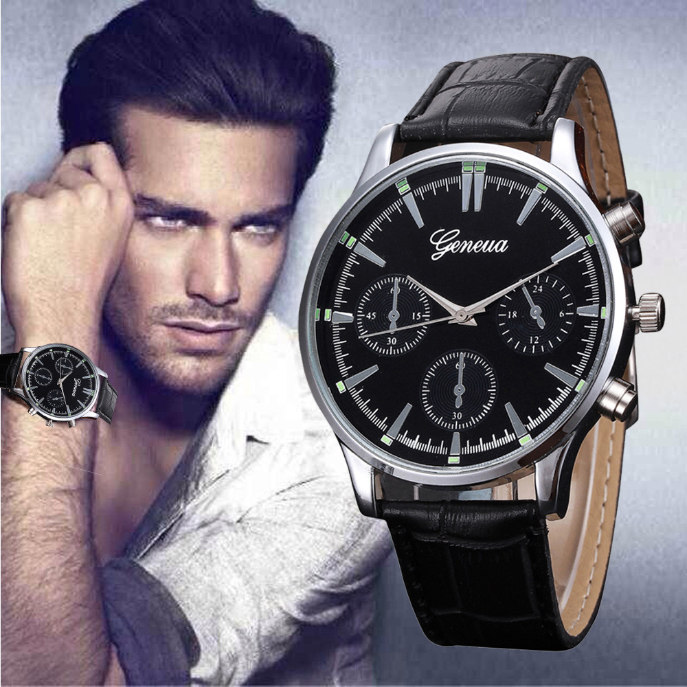 Male Geneva Fashion Leather Band Watch Mens Retro Design Casual Analog Alloy Quartz Roman Numerals Dial Wrist Watch Herren Uhren paidu fashion men wrist watch casual round dial analog quartz watch roman number faux leatherl band trendy business clock