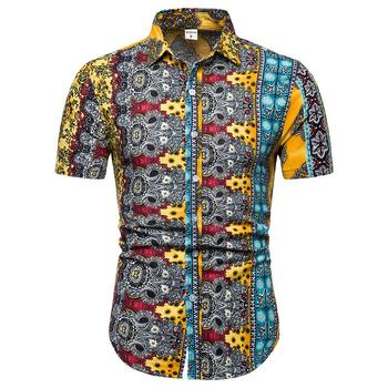 Large size M-5XL Floral Shirt Men Short sleeve Casual Hawaiian Shirt Mens Clothing Slim Yellow Blue Orange pinkwin blue 5xl