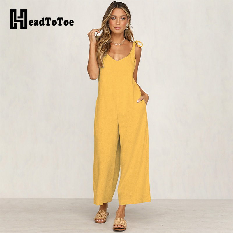 Sexy Spaghetti Strap Women V-neck Jumpsuit Sleeveless Female Summer Loose Jumpsuits Bandage One Piece Overalls Jumpsuit