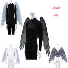 Engelenvleugel suave De espuma sintética para adultos y niños, disfraz De Cosplay De alta calidad en blanco y negro, Alas De Ángel