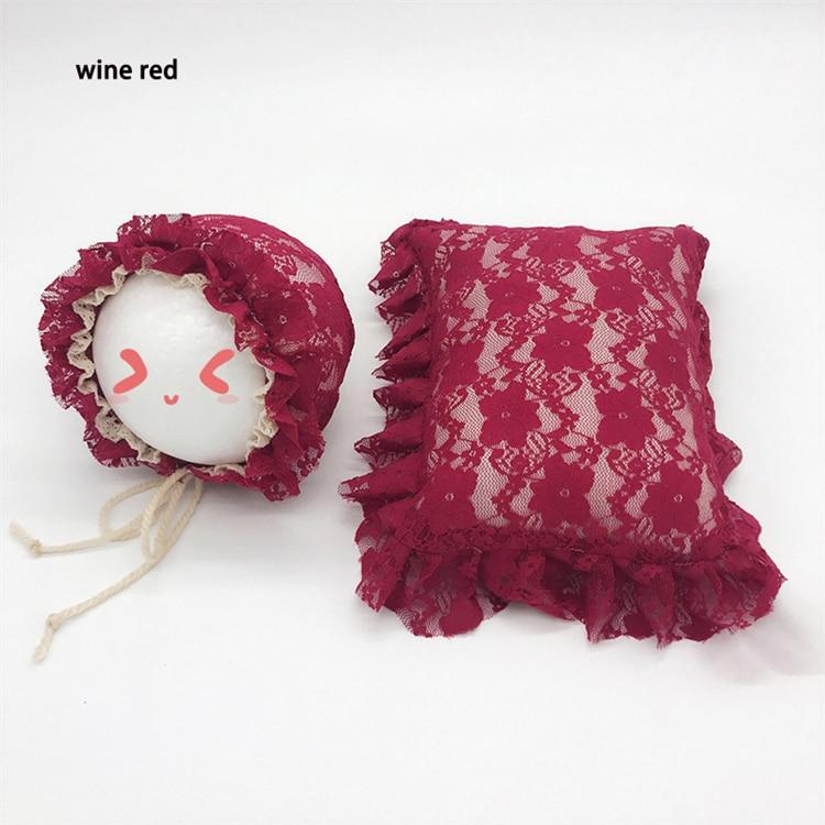 recém-nascido infantil fotos roupas rendas travesseiro beanie