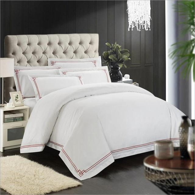 4PCS 100% Cotton Duvet Cover Bed Sheets Hotel Bedding Set White Embroidered  Bedclothes Bed Linen