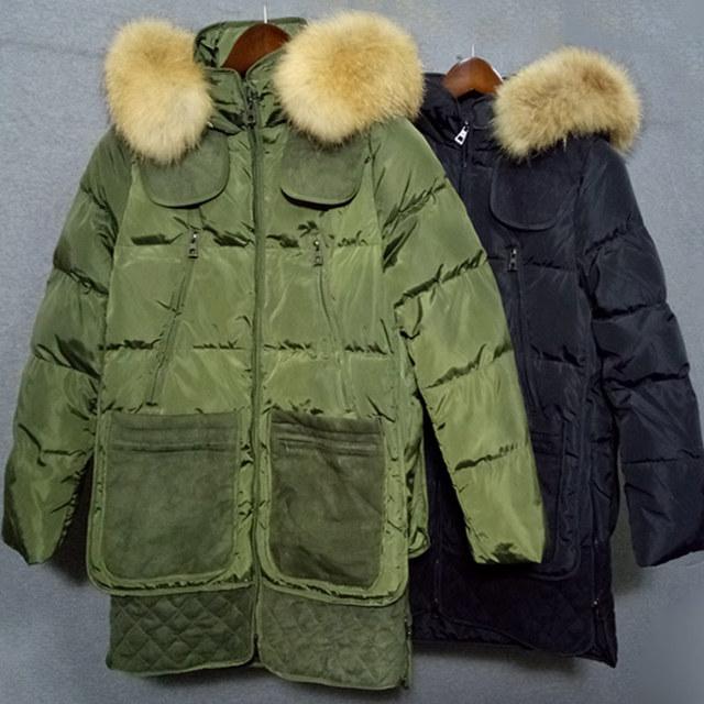 BringBring 2016 Pato Para Baixo Casaco de Inverno Exército Verde E Preto mulheres Jaqueta e Casaco de Pele Natural para inverno Com Capuz Engrossar 1732 Livre DHL