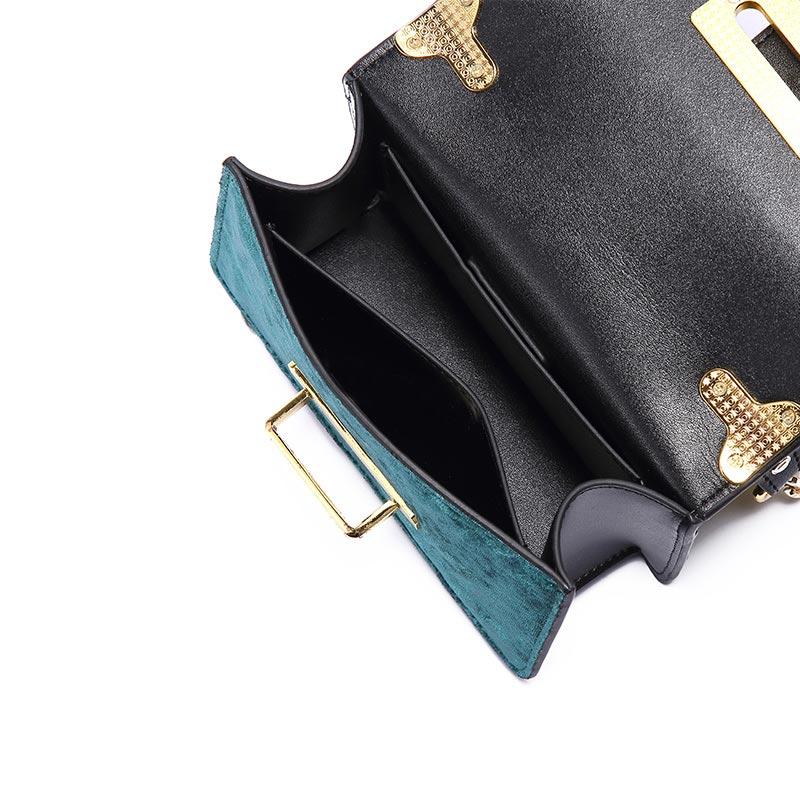 2018 dark En Mode Sac Petit Black Souple Vintage Sacs Nouveau Main Épaule À Green Jinluda Solide Velours Étui Cuir Enchaîné Messenger Carré nURYxw7qI