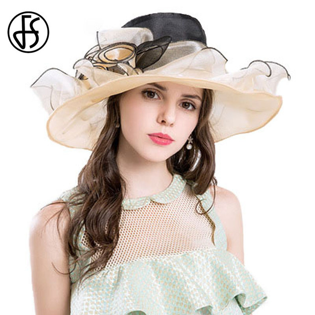 4f57d4f7 FS Elegant Summer Hats For Women Big Flower Wide Brim Organza Sunhat Chapeu  Feminino Kentucky Derby Hats