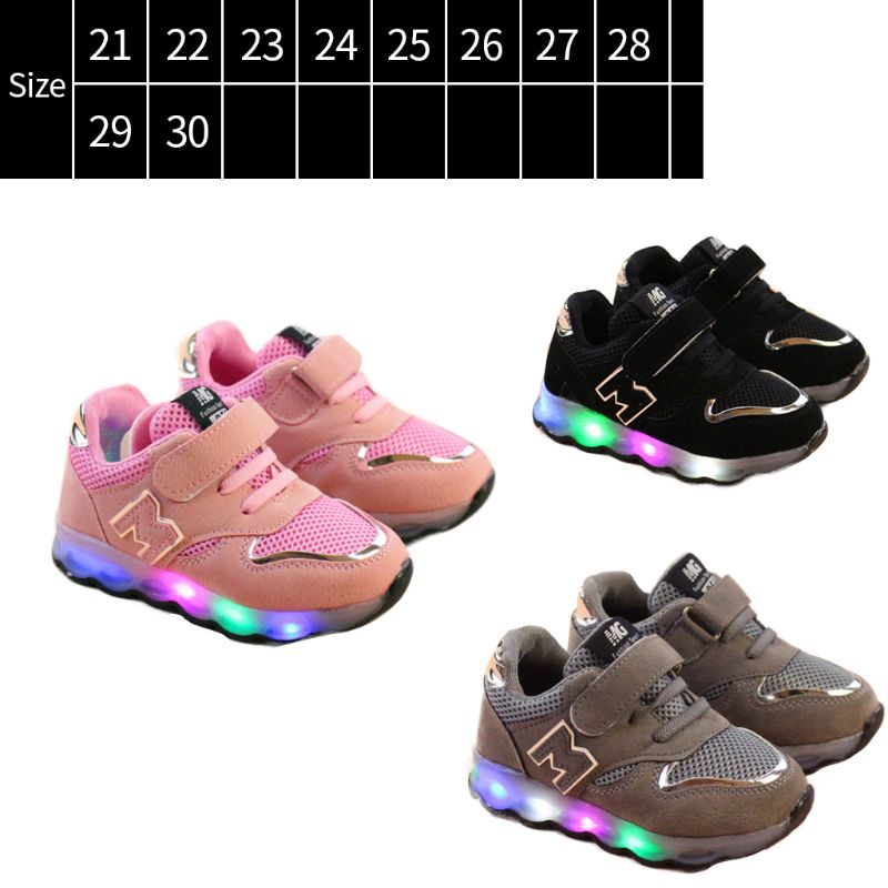 Toddler Kids Mesh Breathable Colorful LED Light Up Shoes Boys Girls Baby Luminous Sneakers Child Comfortable Sport Trainers