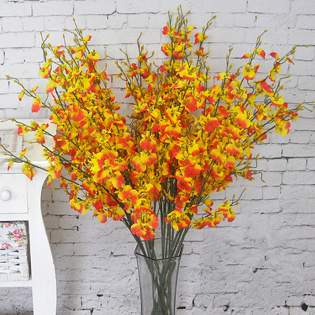 Flowers oncidium 94cm37 length 10pcslot artificial orchid white flowers oncidium 94cm37 length 10pcslot artificial orchid whiteyellow mightylinksfo