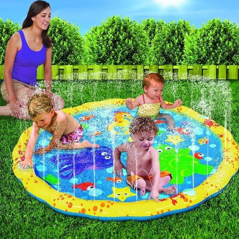 100CM Sprinkler Mats Gyepjátékok Gyermekeknek Felnőtt Strand Szabadtéri Víz Party Játék Medence Kiegészítők Családi Grassland Plaything