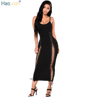 HAOYUAN Women Bandage Dress 2018 Summer Dress Lace Up Hollow Out Bodycon Robe Vestidos Elegant Party