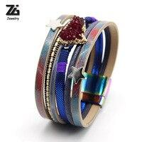 ZG 2018 Handgemaakte Onregelmatige Galaxy Quartz Crystal Natuursteen Hanger Armband Voor Vrouwen Mode Trendy Fancy Sieraden Vrouwen