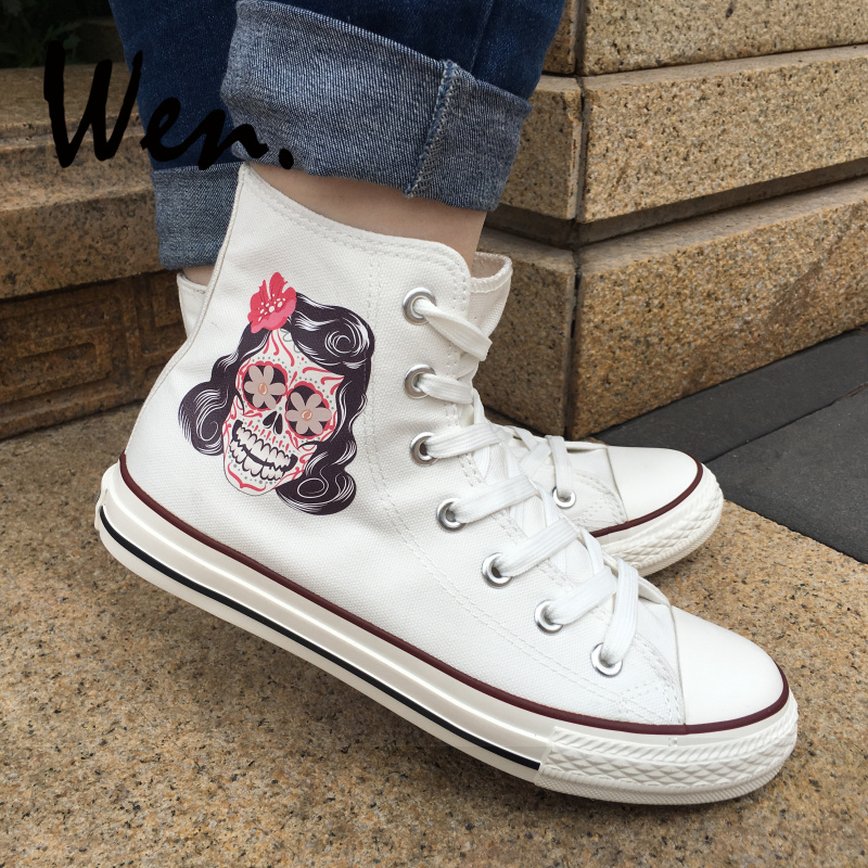 Wen Design Mexican Skull Tattoo White Canvas Shoes Mænd High Top Canvas Sneakers Kvinder Platform Plimsolls Lace Up Trainers