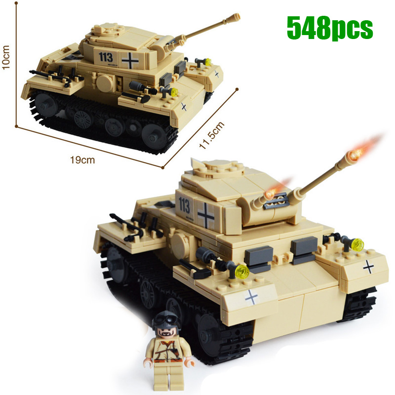 Military WW2 German Panzer III Tank 3D Model AUSF L Primary Battle Tank  Building Block Toy for boy compatible with lego