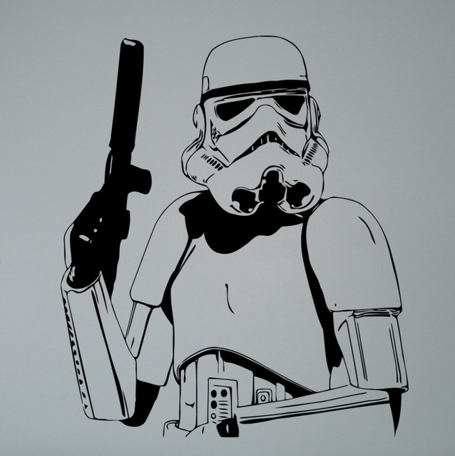 Storm trooper wall vinyl decal star wars poster sticker cool imperial army home interior living room