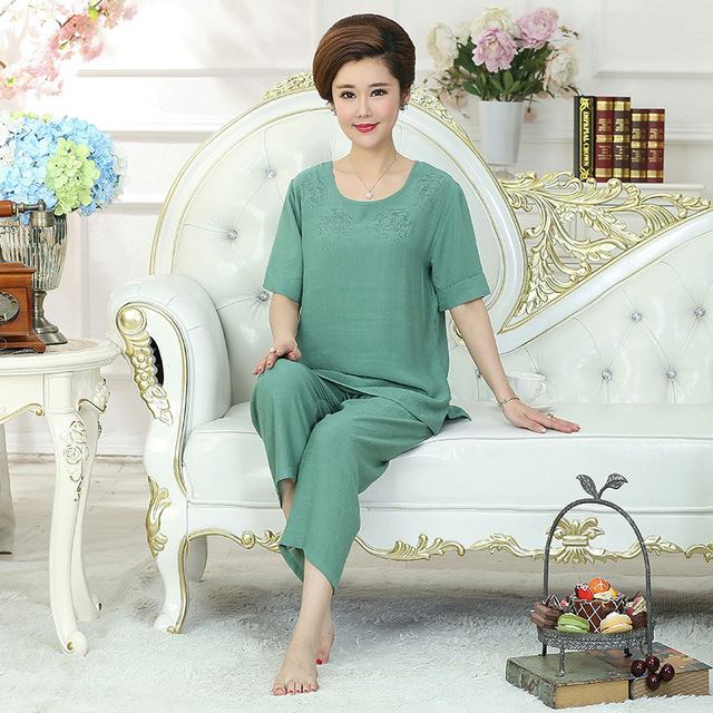 b14b0b70883 Green 2pcs Shirt pant Female Pajamas Set Casual Home Clothes Intimate  Lingerie Summer Lady Sexy Negligee Home Wear Plus Size 4xl
