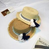 2017 Panama Sombrero Sun Hats For Women Cap Handmade Custom Striped Tassel Hair Ball Rafael Weave