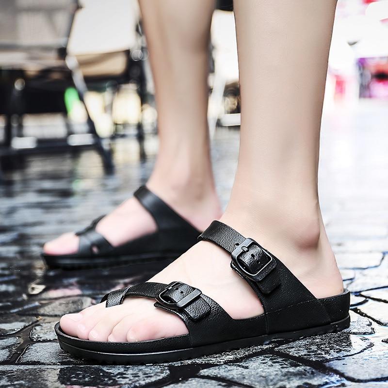Men Beach Flip Flops 2020 Summer Flat Shoes Men Indoor Outside Slippers Slip-On Black Sandals Lovers Casual Slides Footwear