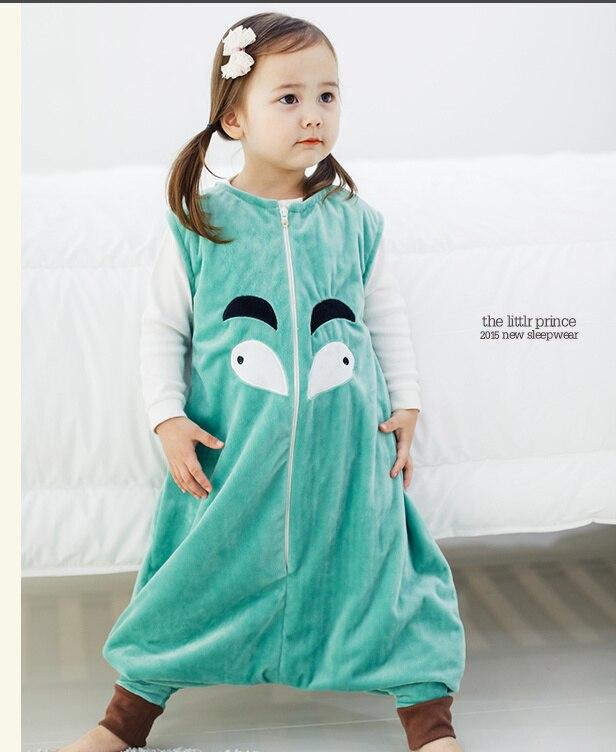 7 видов стилей; детский спальный мешок без рукавов; фланелевые пижамы для маленьких девочек с милым рисунком; спальные мешки для маленьких мальчиков - Цвет: green big eye