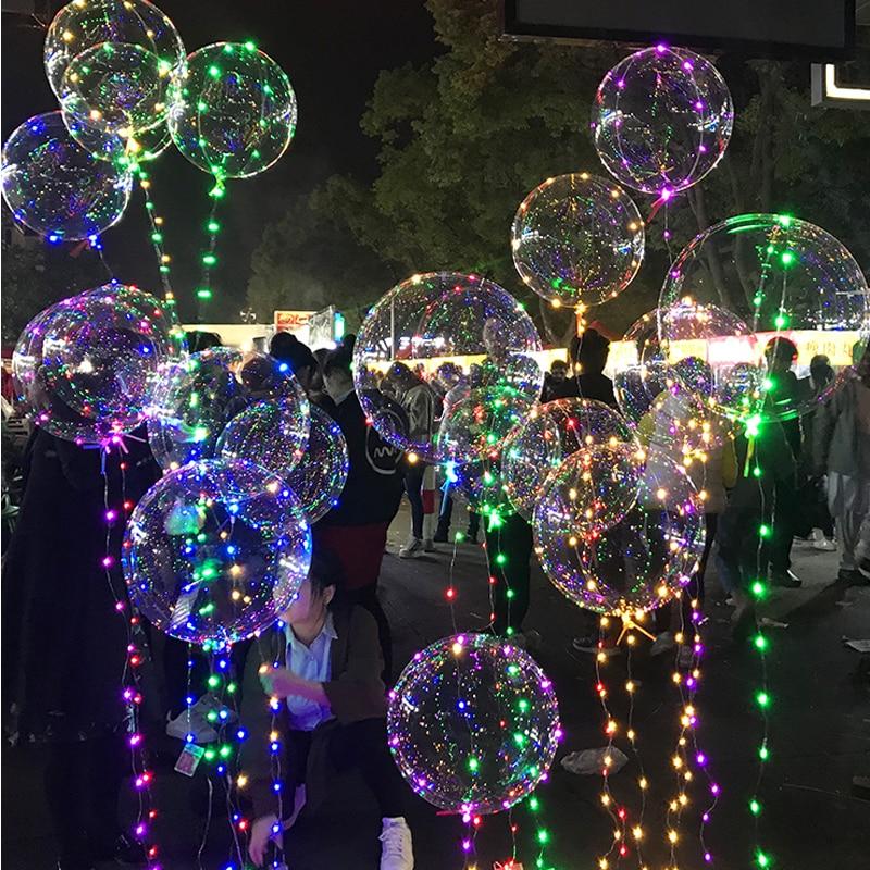 2M 5M 10M 18Inch Luminous Led Balloon LED String Lights Round Bubble Helium Balloons Kids Toy Wedding Party Decoration