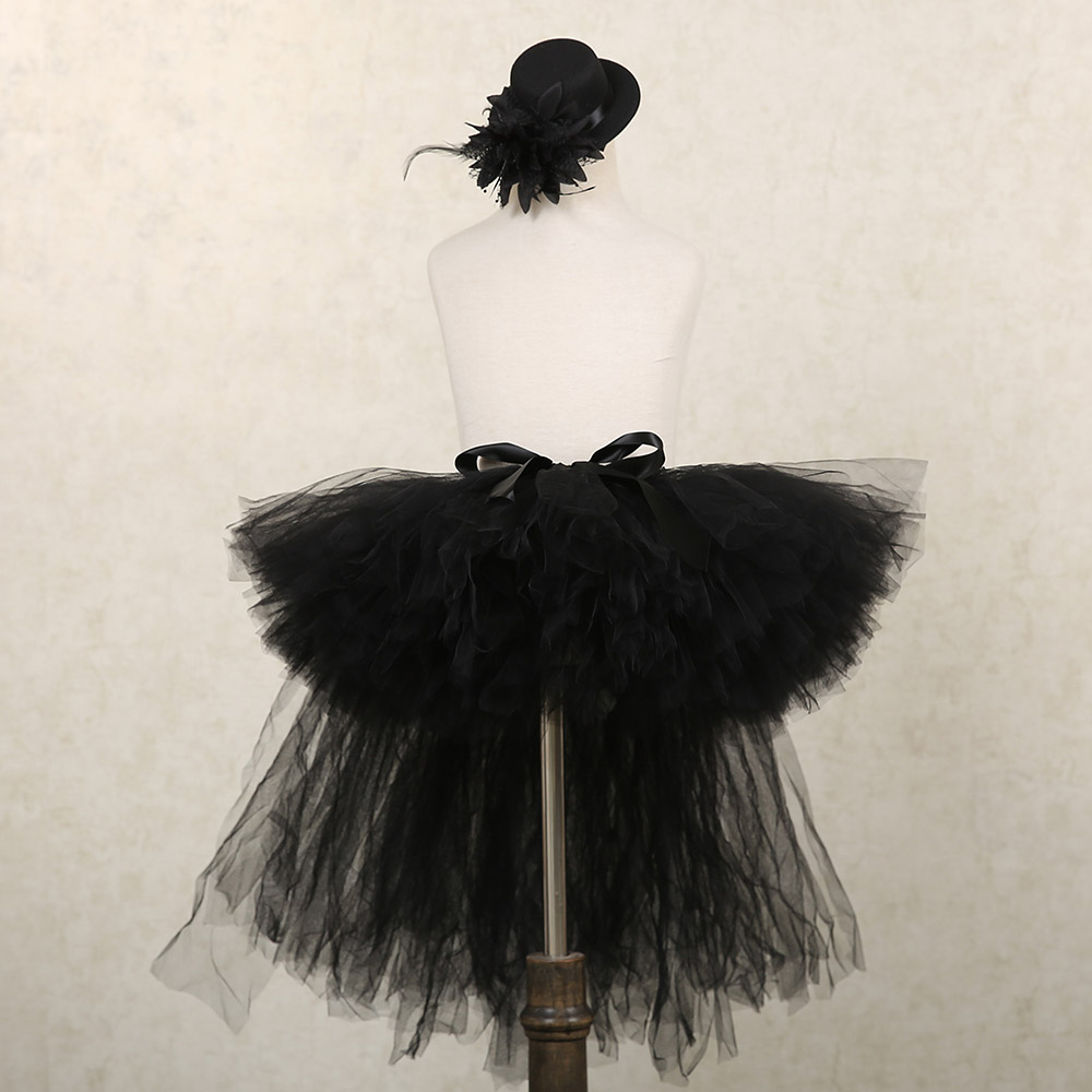Black Puffy Skirts for Girls Unicorn Tutu Birthday Party Skirt Knee Length Elastic Nylon Tulle Girls Skirts Princess Tutu Skirt (2)