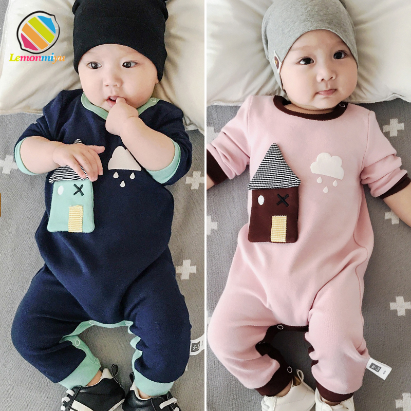 Lemonmiyu Baby Rompers Cotton O-Neck Cartoon Full Sleeve Tops 2018 Autumn Covered Button Baby Girl Romper Unisex Infant Pants baby body new real fashion unisex floral full o neck 2018 baby boy pants suit cotton clothing overalls infant autumn pieces