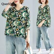 QoerliN V-Neck Half Sleeve T-Shirts Women Loose Casual Big Size Tops Tees Girls Bohemian Beach Shirts TShirts Vintage Linen