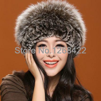 Envío gratis para mujer sombrero de piel verdadera corteza fox pelo de conejo mezclada del pelo que hacen punto invierno cálido sombrero de moda
