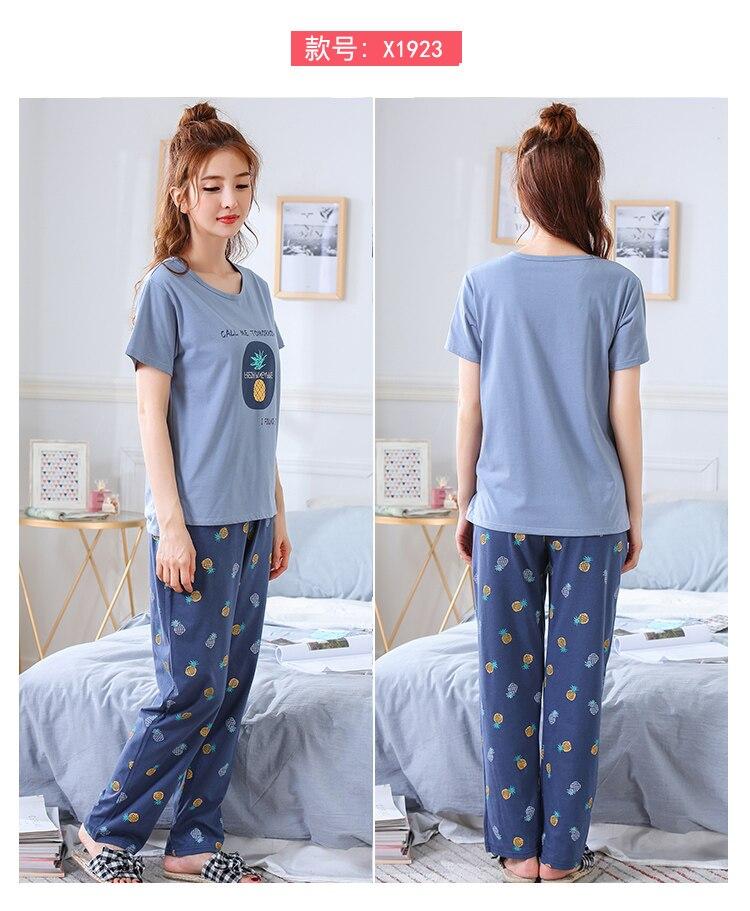 Image 4 - Summer Pajamas Cotton Home Pants Women Sleepwear Thin Pyjama Women Pants Female Casual Lady Home Wear Plus Size XXL 3XL 4XL 5XLPajama Sets   -