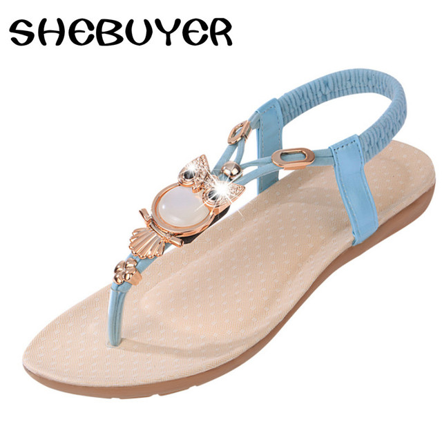 b5285f4729364c Brand Summer Women Gold sandals 2017 Gladiator Sandals Rhinestones Shoes  Woman Flat Beach Thong Sandals Flip Flops Sandal 35-41