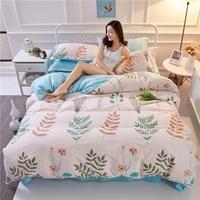 Monily植物パターン100%綿4ピース布団カバー葉花カラフルな印刷寝具セットコージーホテルホーム点灯寝具