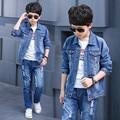 Novo 2017 Retail Crianças Definir Bandeira REINO UNIDO Imprimir Moda Terno meninos Conjuntos de Calça Jeans Denim Jacket + Calças Jeans 2 pcs Garoto Verão roupas