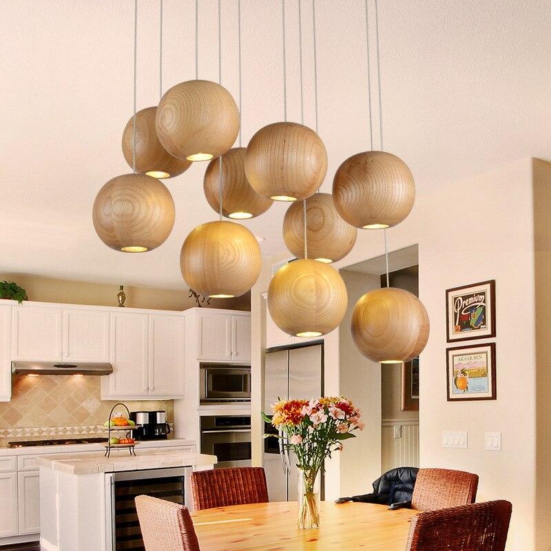 все цены на Single Head Dia 10cm Wooden Pendant Light  Vintage Industrial Lighting American Country Style 90~260V 3W Led Hanging Lamp WPL060 онлайн
