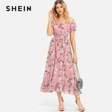 SHEIN Boho Off Shoulder ดอกไม้ Ruffle Hem Belted ฤดูร้อนชุดยาวผู้หญิง 2019 แขนสั้นพรรค Line Elegant Dresses