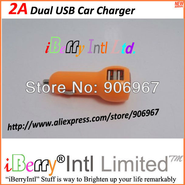 2000mA Two USB Port Dual USB Car Power Charger for Mobile Phone Tablets PAD Camera MP3