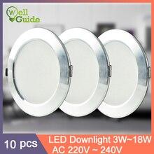 LED Downlight 10Pcs lot size Round Recessed Lamp 220V Led Bulb  3W 5W 9W 12W 15W 18W Spot Lighting Indoor UltraThin Economic