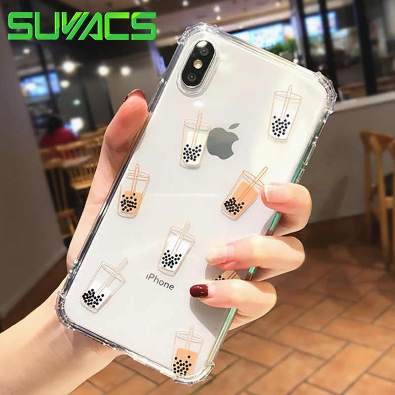 SUYACS Milk Tea Phone Case For iphone 6 6S 7 8 Plus X XS MAX XR Cut Transparent Ultra-thin Soft TPU Phone Cover Four Corners