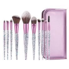 New 10Pcs Glitter Makeup Brushes Eyeshadow Eyelash Cosmetics Tools with Storage Bag
