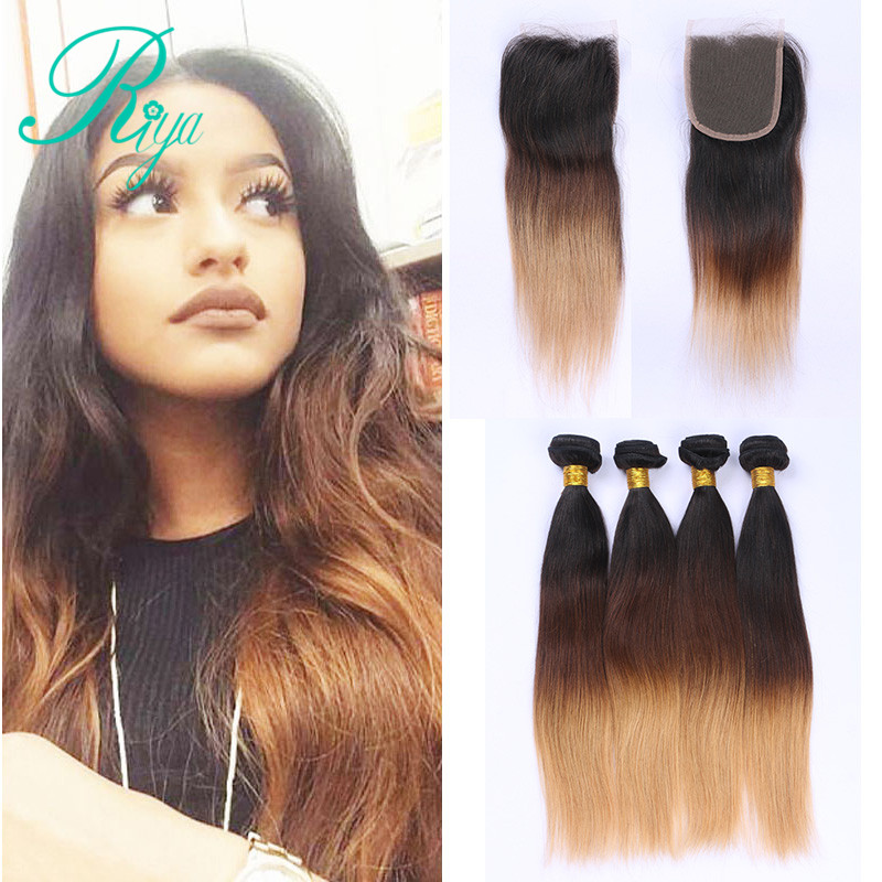 Riya Hair Preuvian Natural Remy Hair 1B/4/27# Three Tone Color Straight Hair 3/4 Bundles With 4*4 Lace Closure Wholesale Hair