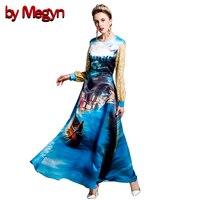 Elegant Print Long Dress 2017 Fashion Cultivate Slim 3 4 Lantern Lace Sleeve Large Swing O