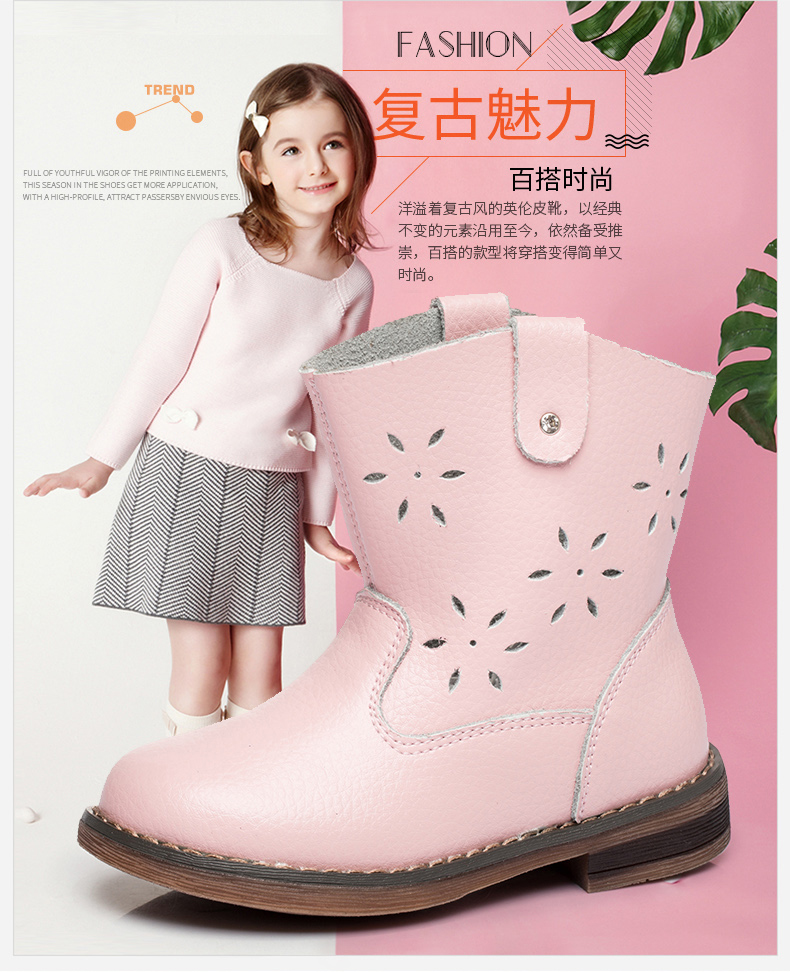 Wendywu 2017 Princess shoe Lovely Flowers hollows Autumn and winter leather horse boots princess children shoes Little girls 2014 new autumn and winter children s shoes ankle boots leather single boots bow princess boys and girls shoes y 451