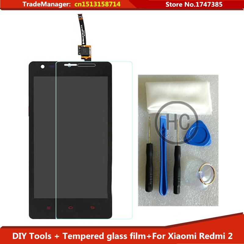 DIY Tools+Tempered glass film + For Xiaomi Redmi 2 LCD Display Touch Screen Glass Panel Assembly for Xiaomi Hongmi 2 Red Rice