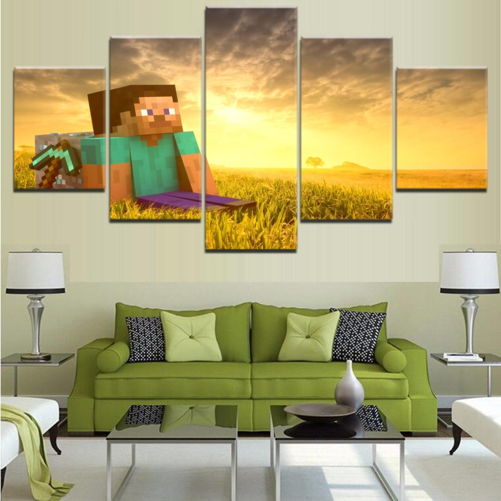 5 Pieces Minecraft Game Model Canvas Printed Poster Wall Art Modern ...