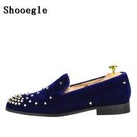 SHOOEGLE Factory Handmade Luxury Men Shoes Spikes Embellished Loafers Slip On Stylish Flat Spring Autumn Men shoes Wholesale