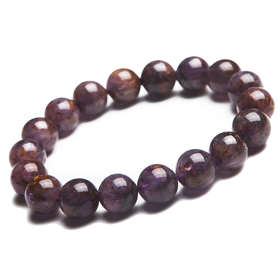 11mm Natural Genuine Gold Purple Rutilated Quartz Crystal Bracelets For Women Femme Charm Stretch Clear Round Bead Bracelet