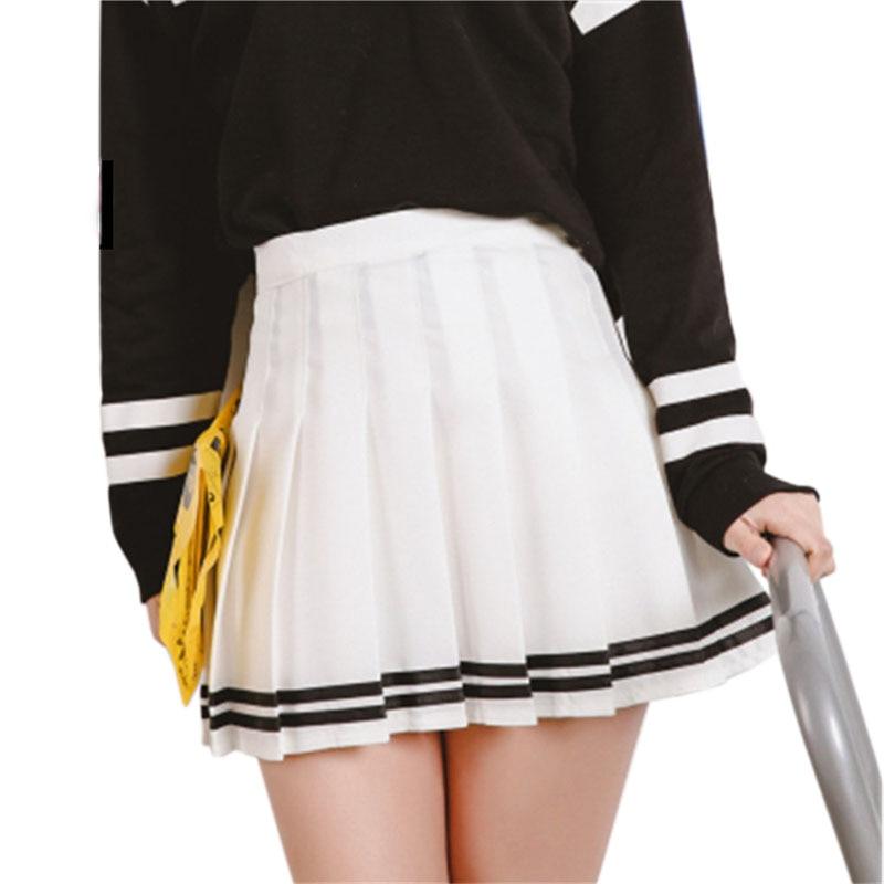 Drop ship high waist ball pleated skirts Harajuku Mori girls stripe a-line sailor Summer skirt Cosplay Japanese school uniform