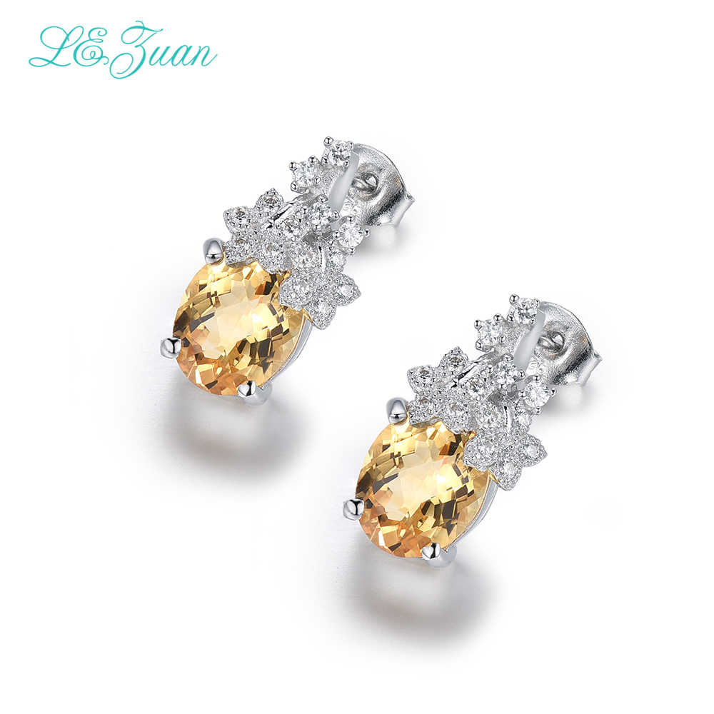 I&zuan 4.75ct Natural Citrine Checkerboard Cut Earrings 925 Sterling Silver Jewelry Luxury Drop Earrings For Women stylish silver plated cut out rhinestone heart earrings for women