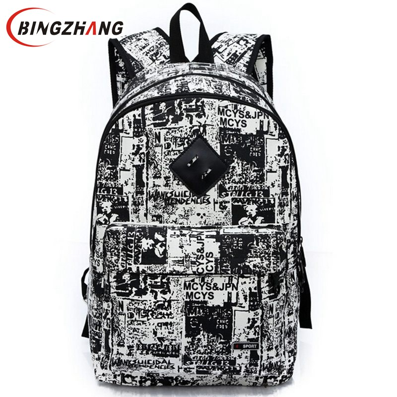 New Fashion Printing Backpack School Bag For Boy Girl Teenagers Travel Rucksack Men's Canvas Backpack Women Bags L4-1454 tcttt new 2016 travel bag women laptop backpacks girl brand rivet backpack fashion chains knapsack school bags for teenagers
